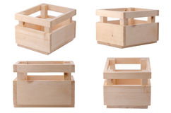 Collection Wooden box for flowers isolated over white with clipp Royalty Free Stock Photography