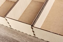 Collection of wooden boxes Royalty Free Stock Images