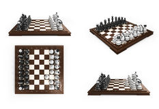 Collection of wooden chess laid in the original position on the stock illustration