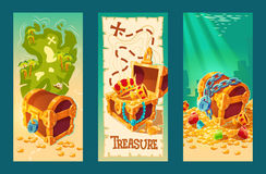 Collection of wooden chests with treasures on the background of a treasure map and on the seabed. Collection of isolated vector cartoon vintage banners with Stock Photo