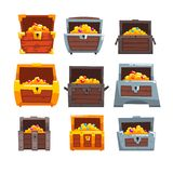 Collection of wooden chests with treasures, chest with golden coins and jewels vector Illustration on a white background. Collection of wooden chests with royalty free illustration