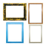 collection of wooden frames for painting or picture on white bac Stock Photo