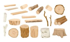 Collection of wooden logs, tree branches, lumbers, timber sawn into rough planks isolated on white background. Set of. Lumber and industrial wood. Colorful stock illustration
