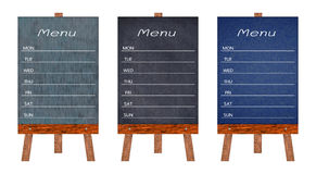 Collection of wooden menu display Sign, A Frame restaurant message board, Isolated on white background. Collection of wooden menu display Sign, A Frame royalty free stock image