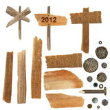 Collection  wooden notice board, pieces of broken Stock Image