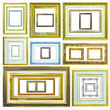 Collection of wooden picture frame isolated Royalty Free Stock Image