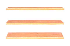 Collection of wooden shelves. On an isolated white background Stock Photo