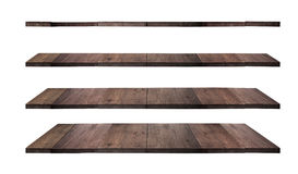 Collection of wooden shelves. On an isolated white background stock photos
