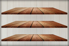 Collection of wooden shelves Stock Image
