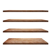 Collection of wooden shelves on white background Stock Photos