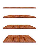 Collection of wooden shelves on white background Stock Images