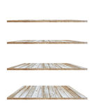 Collection of wooden shelves on white background Royalty Free Stock Photos