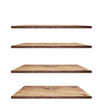 Collection of wooden shelves on white background Royalty Free Stock Images
