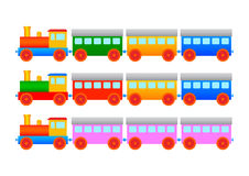 Collection of wooden trains Stock Photos