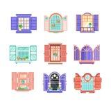 Flat vector set of wooden window frames with doors. Elements for building exterior. House construction theme. Collection of 9 wooden window frames with doors vector illustration