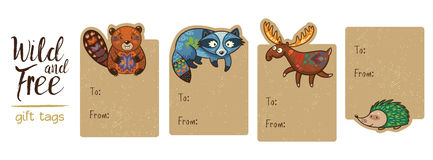 Collection of woodland gift tags Stock Image