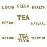 Collection of words spelled out in herbs and tea leaves. Collection of words carefully spelled out in herbs and tea leaves by hand, centered on the topics of tea Stock Image