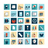 Collection of work office flat design icons. Royalty Free Stock Image