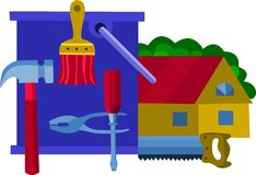 Collection of work tools,  illustration -1 Royalty Free Stock Photo