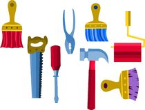 Collection of work tools,  illustration -2 Royalty Free Stock Images