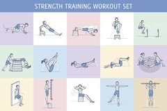 Strength Training Workout Set. A collection of Workout Exercise Routine performed by a man and a woman in the gym, with equipment such as wall bars and vaulting Royalty Free Illustration