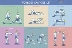 Workout Exercise Set Man. A collection of Workout Exercise Routine performed by a young strong man Royalty Free Illustration