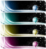 Collection of world banners. Four technologic banners or backgrounds with astral space, globe and stars Stock Images