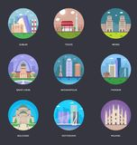 Collection Of World Cities Vector Illustration stock illustration