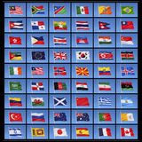 Collection of World Flags. A collection of 54 national flags from countries around the world Royalty Free Stock Photos