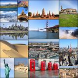 Landmarks. Collection of world travel landmarks - photo collage with Paris, New York, Grand Canyon, Tokyo, London, California, Spain and New Zealand Stock Photos