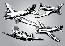 Collection of world war 2 military aircraft. Vector of collection of world war 2 military aircraft Royalty Free Stock Photography