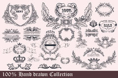 Collection of wreath, frames and ornaments for design.  Stock Photos