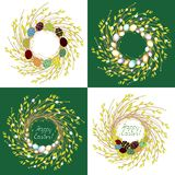 Collection.The wreath of young willow branches. The composition is decorated with beautiful Easter eggs. Symbol of spring and royalty free illustration