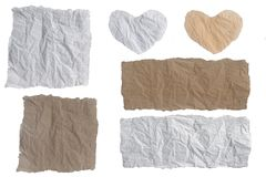 Collection wrinkled sheet paper crumpled white and brown. Collection wrinkled sheet paper crumpled white and brown, Empty space for text with clipping path and Royalty Free Stock Photo