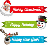 Collection xmas banner santa claus snowman reindeer Stock Photos