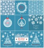 Collection of xmas greetings with paper snowflakes Royalty Free Stock Photo