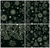 Collection of xmas magic wallpaper. With golden vintage pattern Royalty Free Stock Photos
