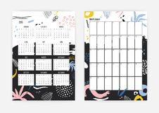 Collection of 2019 year calendar and monthly planner templates decorated with abstract colorful blotches, scribble Vector Illustration