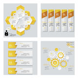 Collection of 4 yellow color template/graphic or website layout. Vector Background. Stock Photography