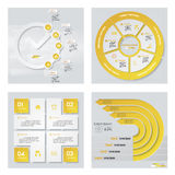 Collection of 4 yellow color template/graphic or website layout. Vector Background. Royalty Free Stock Photos