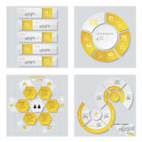 Collection of 4 yellow color template/graphic or website layout. Vector Background. Royalty Free Stock Image