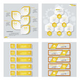 Collection of 4 yellow color template/graphic or website layout. Vector Background. Royalty Free Stock Photography