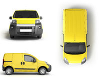 Collection Yellow delivery car in front on a white background 3D Stock Photo