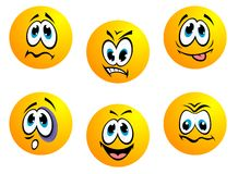 Collection of yellow emoticons Royalty Free Stock Images