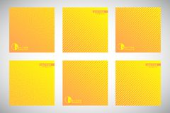 Collection of yellow gradient geometric striped backgrounds Royalty Free Stock Photo