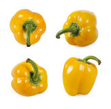 Collection of yellow paprika on white Stock Photo
