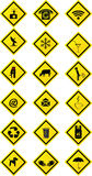Collection of yellow rectangular signs Royalty Free Stock Images