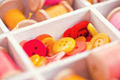 Collection of yellow, red, pink  buttons  arranged in a white wooden box Royalty Free Stock Photo