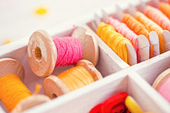 Collection of yellow, red, pink spools  threads  arranged in a white wooden box Royalty Free Stock Photo