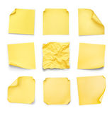 Collection of yellow stickers with curled Stock Image